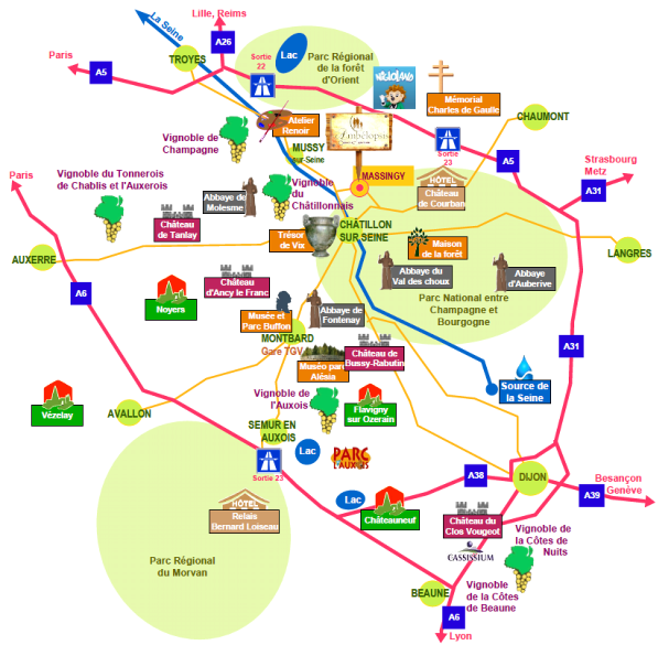 bourgogne carte touristique - Image